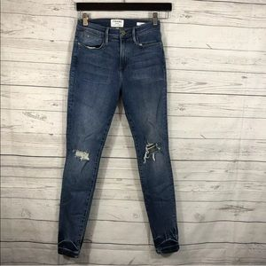 Frame Jeans Le High Skinny Distressed Stretch 27